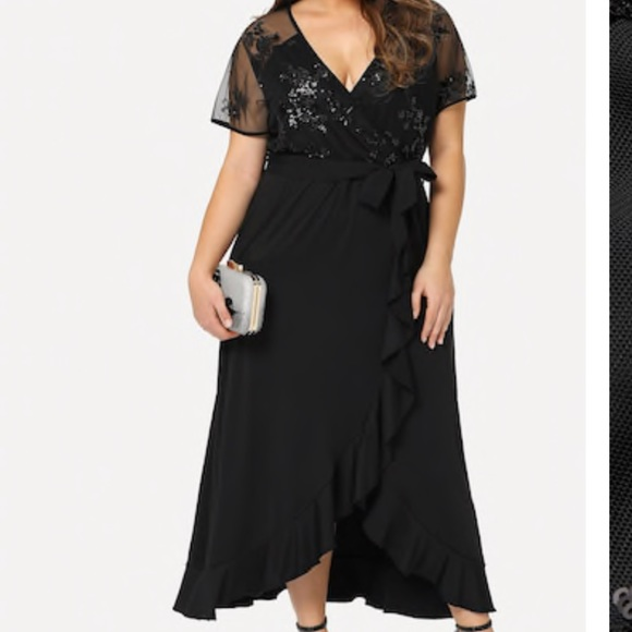 Plus Size Black Waist Tie Dress